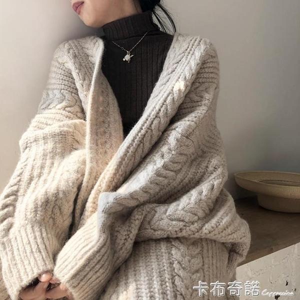 秋冬復古時尚V領加厚針織開衫女寬鬆麻花中長款毛衣外套慵懶