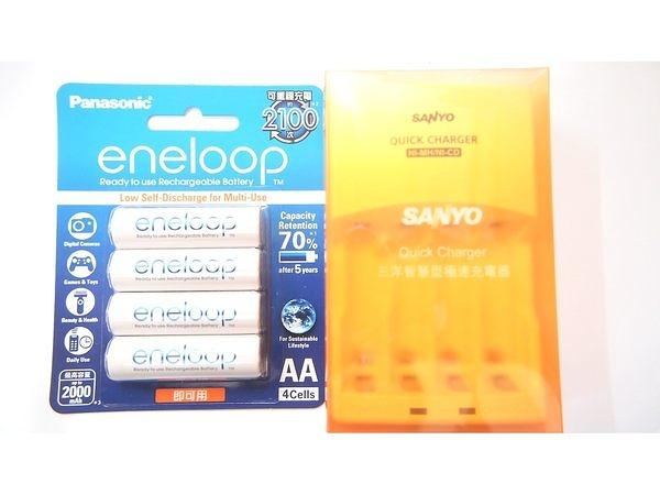全館免運費【電池天地】SANLUX 三洋智慧型充電器 SYNC-N01 +國際牌 eneloop 3號鎳氫低自放充電電池(4入)