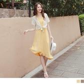 《DA7909-》清新印花假兩件綁帶罩衫拼接斜型裙襬雪紡洋裝 OB嚴選