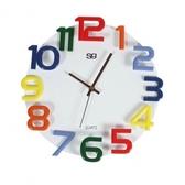 歐式木製彩色數字掛鐘