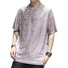 夏季亞麻冰絲短袖t恤男中國風寬鬆大碼速幹半袖體恤青年透氣上衣【快速出貨】