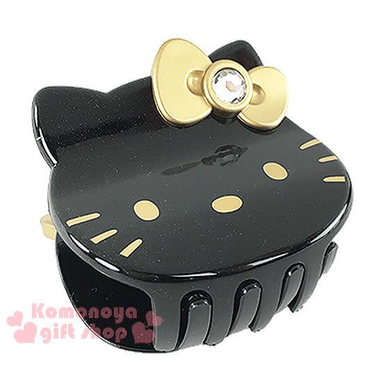 〔小禮堂〕Hello Kitty 造型鯊魚夾《黑.大臉.金蝴蝶結》甜美可愛8021735-67722