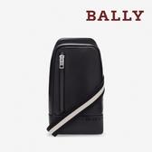 【台中米蘭站】全新品 BALLY TANIS 經典黑白織帶小牛皮胸口斜背包 (6214323-黑)