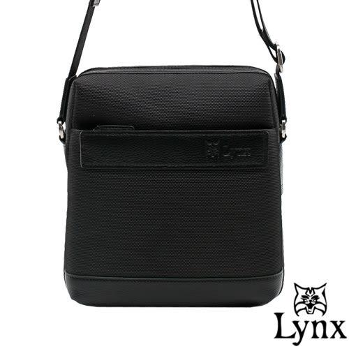 Lynx - 山貓經典極簡風格直式真皮斜側背包(小)-黑色