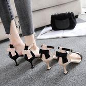 2018夏季新款涼鞋女細跟高跟貓跟女涼鞋露趾甜美一字扣蝴蝶結涼鞋 萬聖節服飾九折