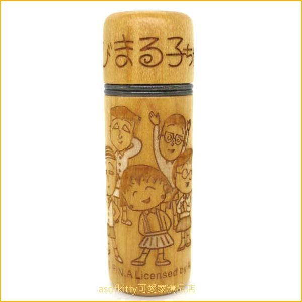 asdfkitty可愛家☆櫻桃小丸子全員 木頭印章盒-5分6分通用-日本正版商品