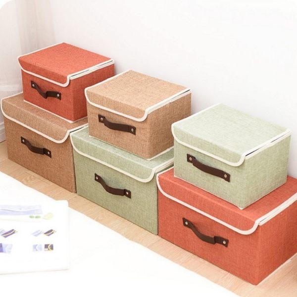 收納箱 【BNA035】高檔亞麻布質收納整理箱(9L) 文具 收納箱 防潮 防塵 衣物收納 123ok