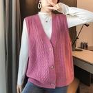 針織背心 韓版毛線馬甲女秋裝新款寬鬆外穿V領背心無袖針織上衣坎肩馬夾厚 零度3C