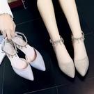 高跟鞋 新款一字扣水?學生銀色低跟4cm伴娘鞋高跟鞋單鞋涼鞋【限時八五鉅惠】