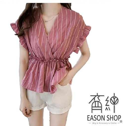 EASON SHOP(GW2828)韓版撞色直條紋花邊收腰薄款短版大V領荷葉袖短袖襯衫女上衣服修身顯瘦內搭衫紅色