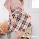 【Kinloch Anderson金安德森女裝】蝴蝶結裝飾釦A字短裙 修身 A字短裙 褲裙