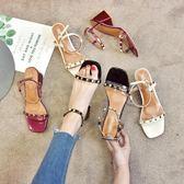 新春新品▷ 新款粗跟涼鞋女 一字扣帶高跟鞋中跟韓版百搭