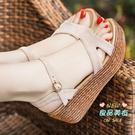 楔形涼鞋 女鞋厚底鬆糕2020夏季新款韓版百搭一字帶魚嘴高跟羅馬鞋