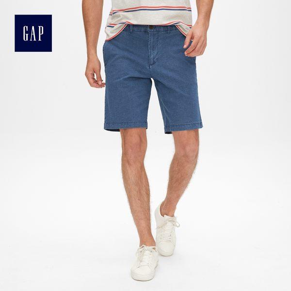 Gap男裝 彈力復古水洗印花短褲 440834-靛藍條紋