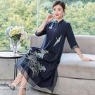 裙子女2021夏新款氣質刺繡復古夏漢元素古風女白色長中國風連衣裙