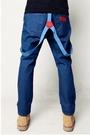 【找到自己】簡約 吊帶褲 褲款 牛仔 連身 吊帶 彈性牛仔 藍色吊帶褲 男
