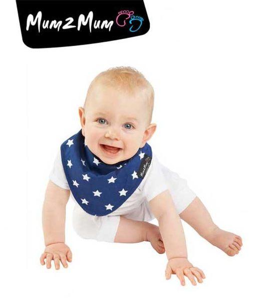 紐西蘭 MUM 2 MUM 雙面時尚造型口水巾圍兜 星星藍