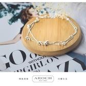 銀雙層星星腳鍊女時尚韓版五角星飾品