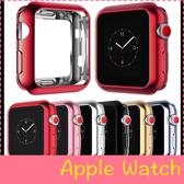 【萌萌噠】Apple Watch 蘋果手錶 123代通用 超薄電鍍邊框透明軟套 防摔保護套 保護殼 38mm 42mm
