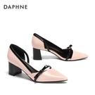低跟鞋 Daphne/達芙妮套腳中空淺口馬蹄跟尖頭奧賽鞋單鞋女101810