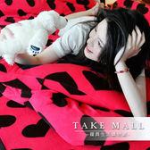 搖粒絨 / 雙人【超細搖粒絨】雙人床包兩用毯組 【戀上桃紅】 台灣製 赫雪黎寢具-超取限1件—