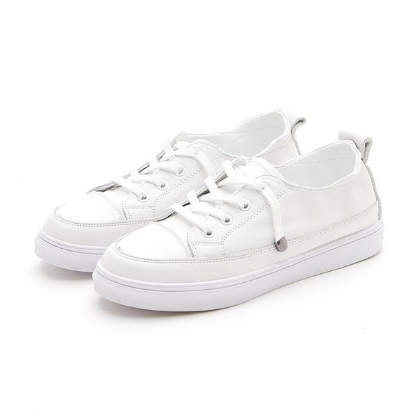MICHELLE PARK 韓版小白鞋 百搭簡約懶人鞋帶休閒小白鞋-白鞋帶
