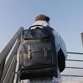 皮革後背包簡約時尚韓版後背包 街頭潮男皮質後背包 戶外休閒背包學生書包潮 suger