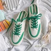 夏季半拖帆布鞋男女情侶白色百搭懶人鞋子潮鞋托無後跟一腳蹬男鞋「時尚彩紅屋」