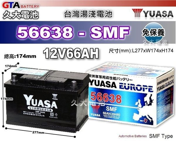 ✚久大電池❚ YUASA 湯淺電池 56638 免保養 歐洲車 汽車電瓶 56618 56820 GR40R 適用