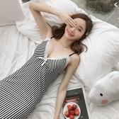 夏季條紋女士睡衣性感V領女吊帶胸墊睡裙花邊薄款家居服中長裙