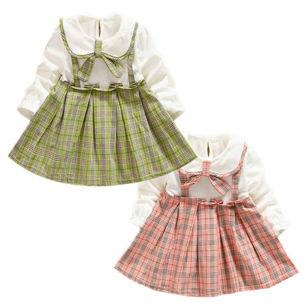 長袖洋裝 蝴蝶結 假兩件連身裙 典雅學院風 女寶寶 洋裝 童裝 SG1050 好娃娃