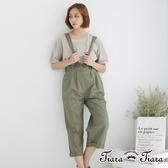 【Tiara Tiara】漢神獨有 休閒風吊帶x綁帶兩穿褲(綠/駝)