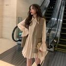 兩件式裙裝 法式復古氣質套裝女秋季2020年新款韓版裙子馬甲小個子顯高兩件套-米蘭街頭