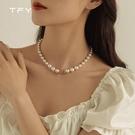 項鍊 TFY復古珍珠項鍊女2021年新款時尚毛衣鍊簡約氣質鎖骨鍊百搭頸鍊 晶彩 99免運
