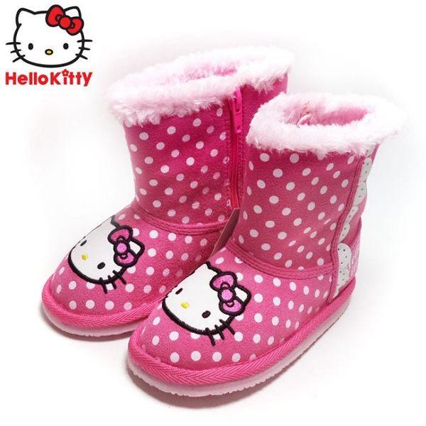 童靴 正版三麗鷗HELLO KITTY 凱蒂貓滿版點點中筒保暖毛絨靴.中筒童靴 桃16-19號