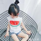 女童短袖 女童無袖上衣白色短袖T恤寶寶洋氣背心體恤童裝韓版 伊鞋本鋪
