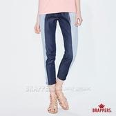 BRAPPERS 女款 Boy Friend系列-天絲棉拼色八分褲-藍
