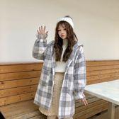 外套小清新秋季2018新款冬季韓版格子加厚連帽中長大衣女 檸檬衣舍