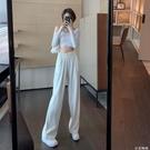 寬管褲女高腰垂感春季2021新款設計感褶皺風琴褲休閒褲子拖地長褲 小艾新品