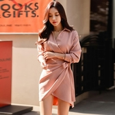 襯衫洋裝 高冷御姐風OL氣質包臀襯衫裙春季新款女長袖V領不規則連身裙 中秋降價