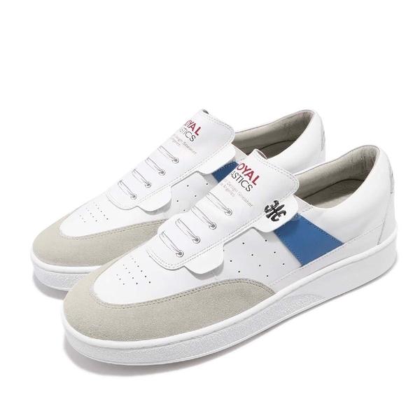 Royal Elastics 休閒鞋 Pastor 白 藍 質感皮革 無鞋帶設計 橡膠大底 男鞋【PUMP306】 01891005