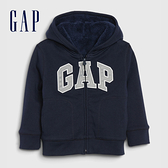 Gap男幼童 Logo仿羊羔絨拉鍊連帽衫 592924-海軍藍