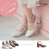 跟鞋-小方頭高跟瑪莉珍(杏,銀)-FM時尚美鞋-Kimy聯名款.Cream