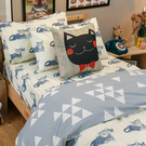 Blue cat 藍貓 Q1雙人加大床包3件組 四季磨毛布 北歐風 台灣製造 棉床本舖