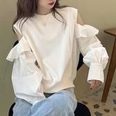 露肩上衣 秋季2021新款韓版時尚寬鬆露肩洋氣長袖上衣ins圓領套頭衛衣女潮 伊蘿