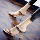 涼拖鞋女夏季大東妞高跟鞋細跟涼鞋歐美性感流行貓跟露趾女鞋 【快速出貨】