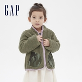 Gap女幼童 保暖仿羊羔絨拉鍊拉鍊外套 614529-綠色