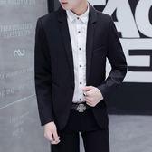 男士西服韓版休閒職業裝修身學生小西裝新郎結婚時尚禮服外衣【米蘭街頭】