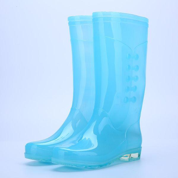 成人雨鞋女透明糖果時尚防水膠鞋女雨靴高筒防滑防水時尚水鞋水靴