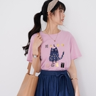 【慢。生活】燙金印花絨布貓咪休閒T恤 9826  FREE 淺紫色